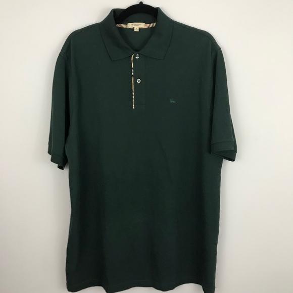 57b2acea7 Burberry Shirts | London Cotton Forest Green Pique Polo L | Poshmark